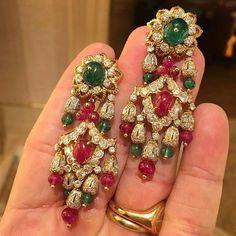 Van Cleef & Arpels Ruby, Emerald and Diamond Ear Pendants, c.1960 #ForSale #FDGallery