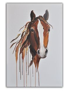 """Whenever I look at this piece I feel a peacefulness come over me.... a calmness from the gaze of this horse. So I've named it """"Peaceful Soul"""". I'm not sure how a painting of a horse can talk to you but this one does. I stare at it while I have my morning cup of coffee and I get lost in it. A simple piece but it speaks volumes! Print on Canvas Abstract Horse Art in brown by heartifactsgallery, $175.00"""