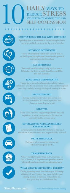 10 Daily ways to reduce stress and cultivate mindfulness and self-compassion. Stress and Anxiety. Stress less. Stop stress. Ways To Reduce Stress, Stress Less, Stress And Anxiety, Anxiety Relief, Ways To Destress, Anxiety Humor, Social Anxiety, How To Not Stress, Stress Management