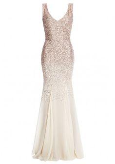 Goddiva Sequin and Chiffon Fishtail Maxi Dress in Champagne