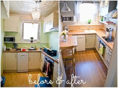 Very tiny kitchen DIY remodel ideas - love how this small kitchen turned out in the before and after pictures!