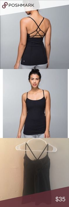 Lululemon Dancing Warrior Tank Black, size 6. No flaws! Cute strappy back with built in shelf bra. lululemon athletica Tops Tank Tops
