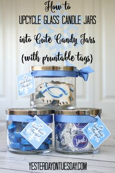 Do you love finding new ways to use things that are bound for the recycling bin? So does Yesterday On Tuesday, which is why she made this candle jar to candy jar gift tutorial. Click in for her free snowflake tag printable to go along with it.