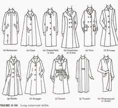 style Fashion drawing - Fashion infographic : Fashion infographic : Different types of long coats - Fashion Show Fashion Terminology, Fashion Terms, 40s Fashion, Fashion Videos, Couture Fashion, Fall Fashion, Style Fashion, Fashion Jewelry, Fashion Design Drawings