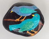 Two blue birds painted rock paperweight