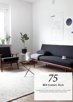 Clean lined furniture, mid century modern