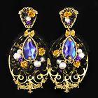 Purple Baroque Handmade Earrings Inspired Dolce Swarovski Pearls 24k Gold Beads