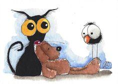 ACEO Original watercolor painting Lucia Stewart Stressie Cat crow teddy bear #IllustrationArt
