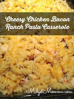 Cheesy Chicken Bacon Ranch Pasta Casserole. One of our family favorites!!! An amazing dish full of flavor that your whole family will love!