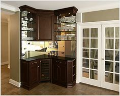 Built In Bar | ... Bar Unit In Cherry With Black Granite Tops And