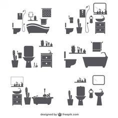 浴室のシルエットアイコン 無料ベクター