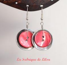 Boucles d'oreille boutons rose et argenté