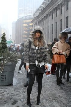 Snowy street style at New York Fashion Week: Outside Rag & Bone #NYFW #StreetStyle