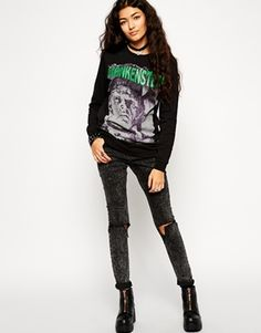 Enlarge ASOS Sweatshirt With Frankenstein Halloween Print