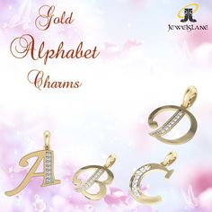 Alphabet Gold Charms with diamonds.....beautiful gift options at JewelsLane  http://www.jewelslane.com/alphabet-gold-charms  #diamondpendants #goldcharms #alphabetcharms #charms #diamondgifts #goldgifts