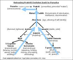 Yoga Sutras of Patanjali: Sankhya philosophy; retracing Prakriti back through its evolutes to find Purusha.