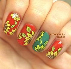 The Happy Sloths: Sunflower Nails: Manicure Featuring Sunflower Water Decal Nail Stickers - I also love sunflower nail art. Nail Water Decals, Nail Decals, Nail Stickers, Sunflower Nail Art, Pretty Girl Rock, Sunflower Pattern, Halloween Nail Art, Nail Art Galleries, Nail Manicure