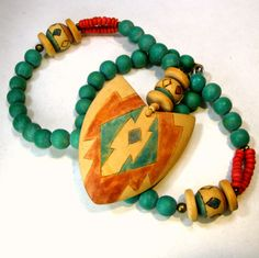 Southwestern Native American Style Arrowhead Necklace, 1970s, Turquoise Coral Tan Wood n Resin Beads with Tribal Pendant