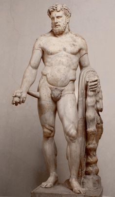 Figure of Hercules with the apples of the Hesperides Roman copy, 2nd century AD, after Greek original. Mid 4th century BC Marble, h 201 cm