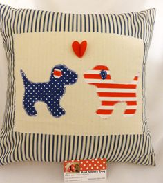 Puppy appliqued cushions by redspottydog on Etsy