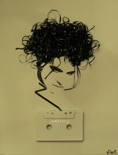Coolest. Thing. EVER!!!!!! Robert Smith out of cassette tape ribbon!