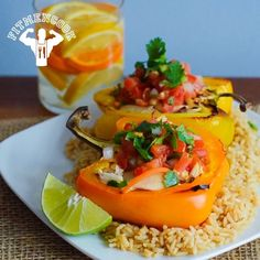 """Cheap healthy meal! Chicken stuffed bell peppers topped with pico de gallo! Meal is less than $3 per serving, has over 25g protein and less than 160 calories so you can LOAD UP, or keep it light! Great #recipe by my good friend from Venezuela, @Sascha Barboza, from her new book """"Las Recetas de SaschaFitness."""" Congrats! Boom. (traduccion abajo)  This recipe is easy to make your own! As she suggests, it's much better if you grill the onions"""