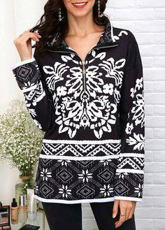 Drop Shoulder Quarter Zip Printed Sweatshirt | liligal.com - USD $30.10   #liligal #hoodies #sweatshirts Printed Sweatshirts, Hoodies, Winter Outfits, Hooded Jacket, Dream Wardrobes, Autumn Fashion, Clothes For Women, Womens Fashion, Casual