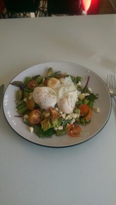 3 Poached Eggs, Asparagus, Lettuce, Cherry Tomatoes, Half Avocado, Feta Cheese, S&P