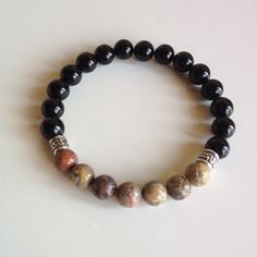 Self Healing - Men's Genuine Sterling Silver Leopard Skin Jasper & Black Onyx Bracelet - Positive Energy