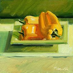 Small Yellow Peppers on Square Green Plate Squared by Gretchen Hancock Oil ~ 6 x 6
