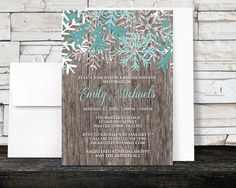 Rustic Winter Bridal Shower Invitations Teal - Country Rustic Winter Wood Teal Snowflake - Printed Invitations