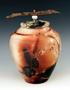 Raku Sagger Fired Vessel B210: Ron Mello: Ceramic Vessel - Artful Home