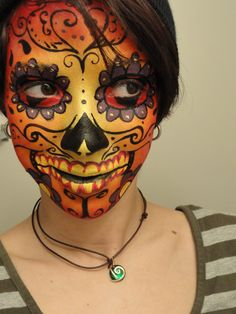 Orange and yellow flame sugar skull makeup - 16 Day of the Dead Makeup Ideas