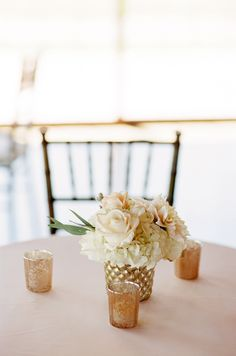 #mercury-glass, #centerpiece, #candle  Photography: Jen Lynne Photography - jenlynnephotography.net  Read More: http://www.stylemepretty.com/2014/06/20/blush-gold-orchard-wedding/