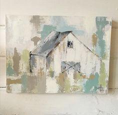 From the Studio of White Cottage Art - Honey N Hydrangea Cottage Art, White Cottage, Farmhouse Paintings, Barn Paintings, Barn Art, Acrylic Painting Techniques, Texture Art, Acrylic Art, Art Oil