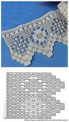 Ideas For Crochet Lace Pattern Curtain Beautiful Crochet Edging Patterns, Crochet Lace Edging, Crochet Motifs, Crochet Borders, Crochet Diagram, Crochet Chart, Thread Crochet, Crochet Trim, Love Crochet