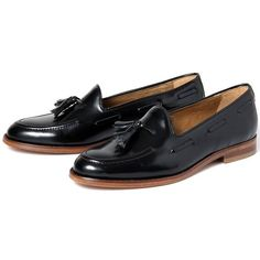 Women's H by Hudson Stanford High Shine Loafers (28.015 HUF) ❤ liked on Polyvore featuring shoes, loafers, evening shoes, low heel evening shoes, brown leather loafers, special occasion shoes and polish shoes