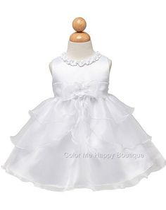 Precious white organza tiered skirt special occasion dress (baby girls sz.0- 24m 2f10005a152b