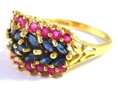 14 kt gold ring with sapphires and rubies (Luxusní zlatý prsten se safíry a rubíny) #ring #rings #gold #sapphires #rubies #jewelry https://autorskesperky.com/en/rings/12-14-kt-gold-ring-with-sapphires-and-rubies.html