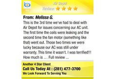 This is the 3rd time we've had to deal with Air Depot for issues concerning our AC unit....