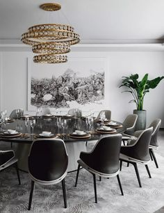 dining rooms 44 Popular Contemporary Dining Room Design Ideas - The latest trends, the newest styles, ah, this is what makes the world go around. Contemporary dining room sets can help you to make a statement about. Contemporary Dining Room Lighting, Elegant Dining Room, Luxury Dining Room, Dining Room Design, Modern Lighting, Luxury Lighting, Dining Rooms, Dining Sets, Dining Tables