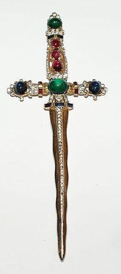 Trifari Cabochon Rhinestone Sword Dagger Pin Brooch 1940's