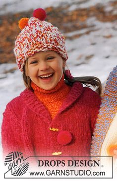 DROPS Children 12-49 - DROPS Cardigan, hat and neck warmer - Free pattern by DROPS Design