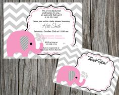 COMBO Special:  Pink Elephant and chevron Baby Shower Invitation and Thank You Card,  Printable Shower invitation and thank you card. $10.00, via Etsy.
