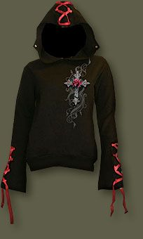 Spiral Black Ribbon Detail 'Angel Rose' Ladies Hoodie ( Get your goth on with gothic punk clothing - a favorite repin of www.vipfashionaus... )