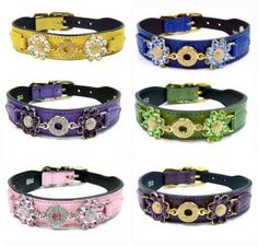 daisy swarovsky crystals leather designer dog collars by hartman and rose