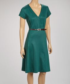 Look at this Joy Mark Forest Belted Short-Sleeve Surplice Dress on #zulily today!