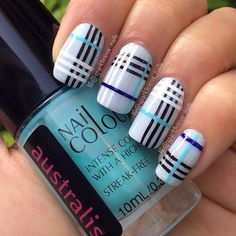 Burberry Nails - The Best Nail Art of the Week Plaid Nail Designs, Plaid Nail Art, Plaid Nails, Cute Nail Designs, Cute Acrylic Nails, Cute Nails, Pretty Nails, My Nails, Neon Nails
