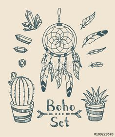 "Download the royalty-free vector ""Boho tribal vector set with plants, dream catcher, feathers and gem stones. Gypsy spirit. In a doodle hand-drawn style."" designed by tanyabosyk at the lowest price on Fotolia.com. Browse our cheap image bank online to find the perfect stock vector for your marketing projects!"