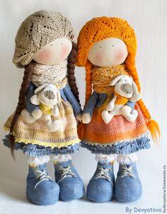 Человечки ручной работы. Ярмарка Мастеров - ручная работа Апельсиновая Маша с собачкой. Handmade.